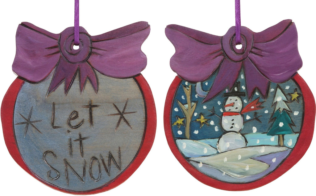 "Ball Ornament –  ""Let it Snow"" ball ornament with snowman motif"
