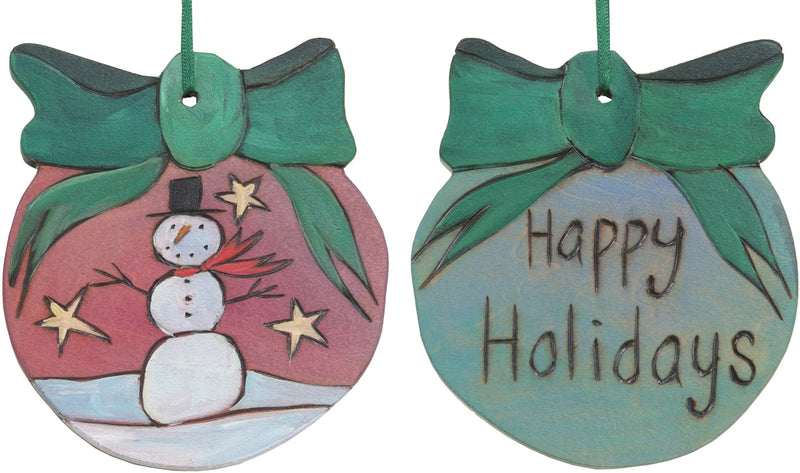 "Ball Ornament –  ""Happy Holidays"" ball ornament with snowman and star motif"