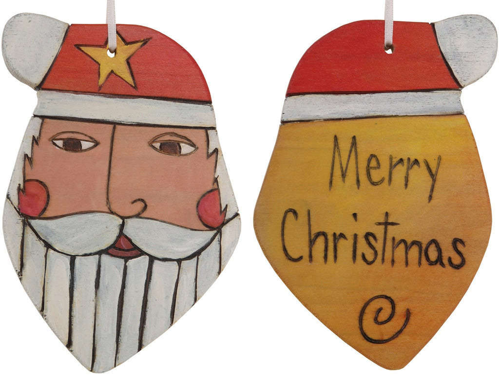 "Santa Ornament –  ""Merry Christmas"" Santa ornament with yellow orange back"