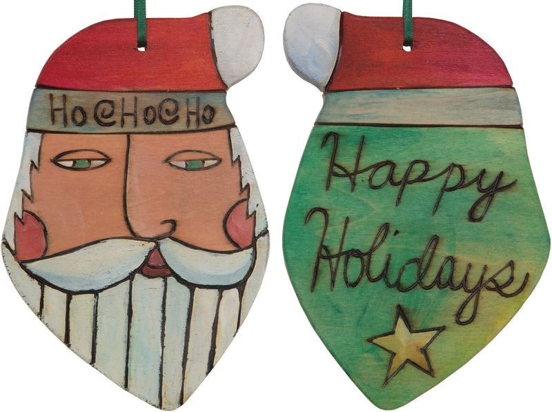 "Santa Ornament –  ""Happy Holidays"" Santa ornament with green back"
