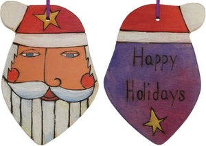 "Santa Ornament –  Festive Santa ornament with pink magenta and purple back, ""Happy Holidays"""
