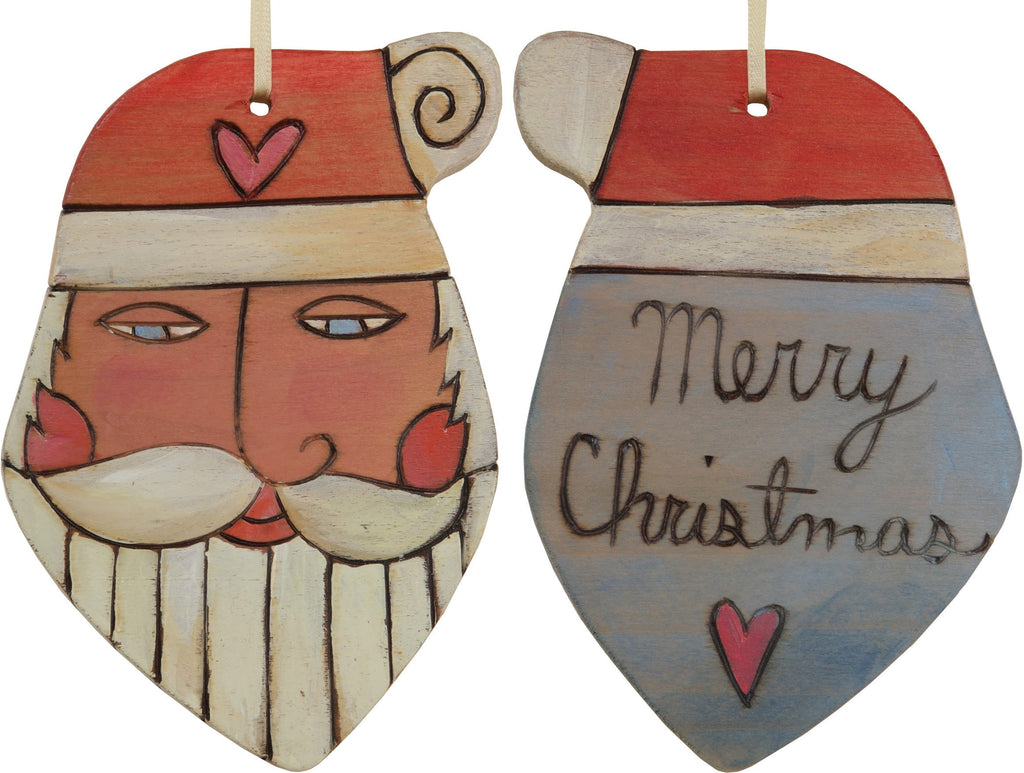 "Santa Ornament –  Festive Santa ornament with lilac blue back, ""Merry Christmas"""