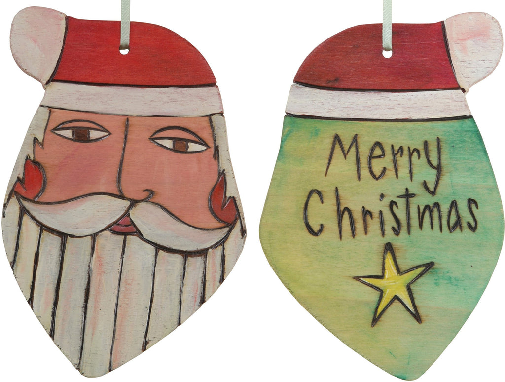 "Santa Ornament –  Festive Santa ornament with yellow green back, ""Merry Christmas"""