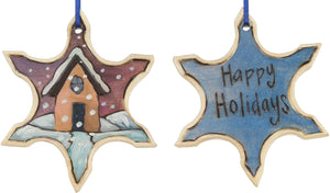 "Snowflake Ornament –  ""Happy Holidays"" snowflake ornament with cozy cottage in the snow motif"