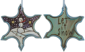"Snowflake Ornament –  ""Let is Snow"" snowflake ornament with smiley snowman motif"