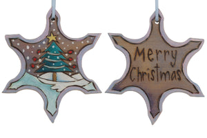 "Snowflake Ornament –  ""Merry Christmas"" snowflake ornament with Christmas tree in the snow motif"