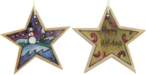 "Star Ornament –  ""Happy Holidays"" star ornament with smiley snowman motif"