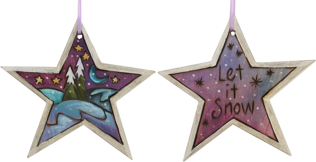 "Star Ornament –  ""Let it Snow"" star ornament with snow-covered pine trees and moon motif"