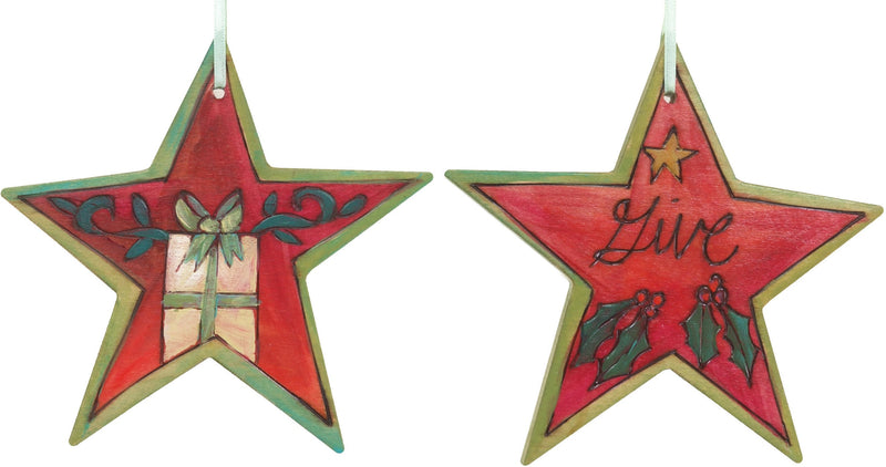 "Star Ornament –  ""Give"" star ornament with present motif"
