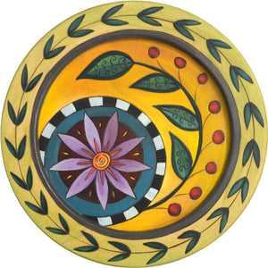 "14"" Round Tray –  Flower round tray with floral and vine motif"