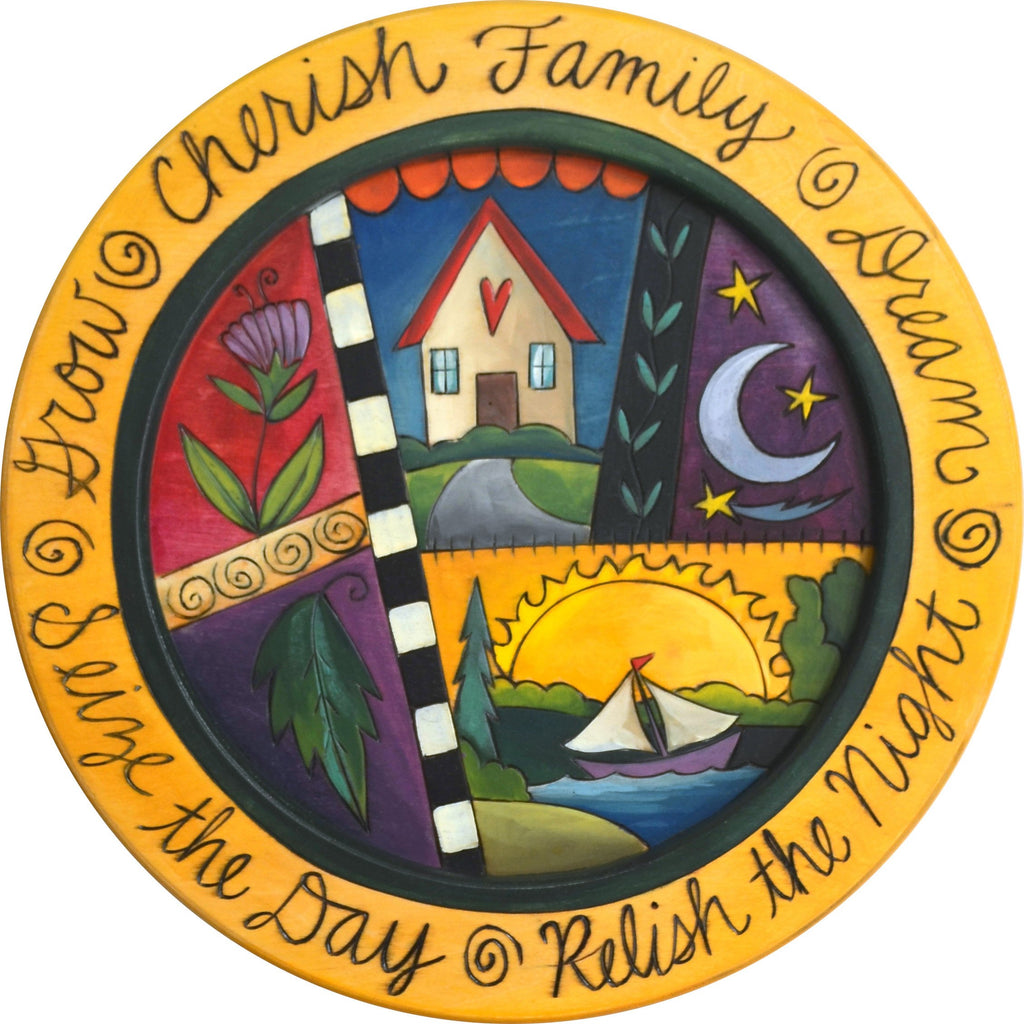 "16"" Round Tray –  Cherish Family/Seize the Day round tray with home and sailboat motif"