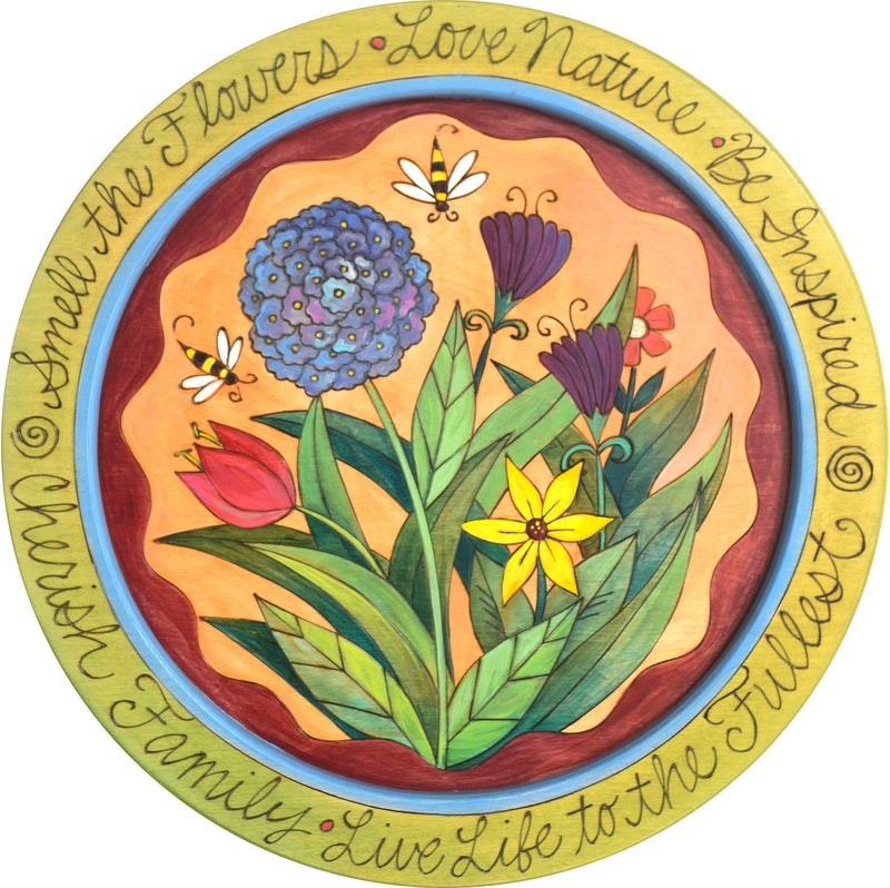 "18"" Round Tray –  Smell the Flowers round tray with floral and bee motif"