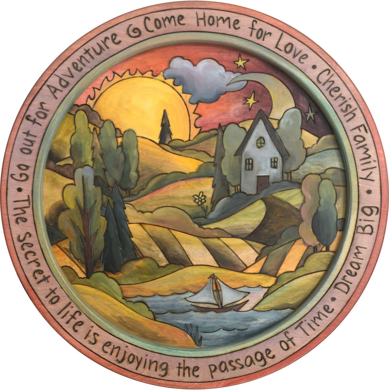 "18"" Round Tray –  Go out for Adventure round tray with sunset on the horizon motif"