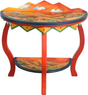 Small Half Round Table –  Lovely half round table with southwest landscape