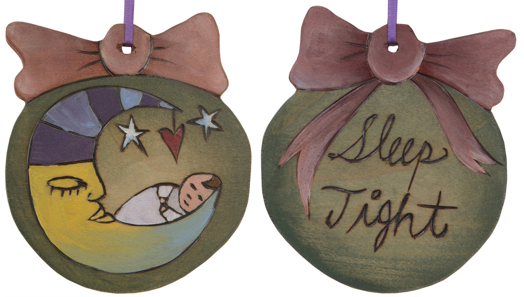 "Ball Ornament –  ""Sleep Tight"" moon and baby ornament"