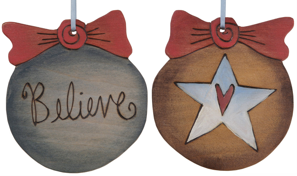"Ball Ornament –  Beautiful and elegant ""Believe"" ball ornament"