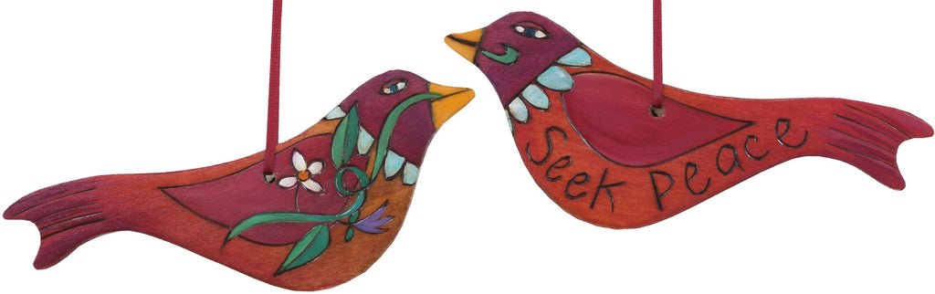 Bird Ornament –  Seek Peace bird ornament in red and orange