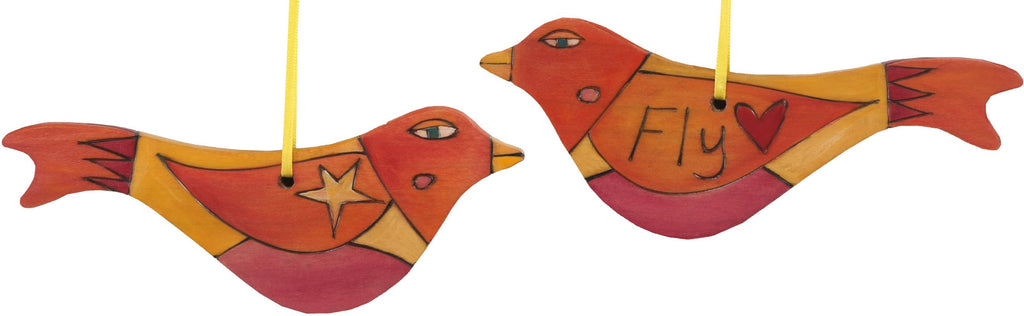 Bird Ornament –  Fly bird ornament in orange and yellow with heart and star on wings