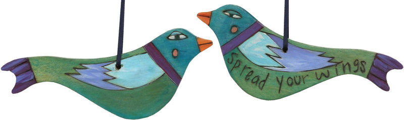 Bird Ornament –  Spread Your Wings bird ornament in green and blue