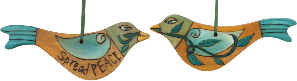 Bird Ornament –  Spread Peace bird ornament in tan with blue wings/tail
