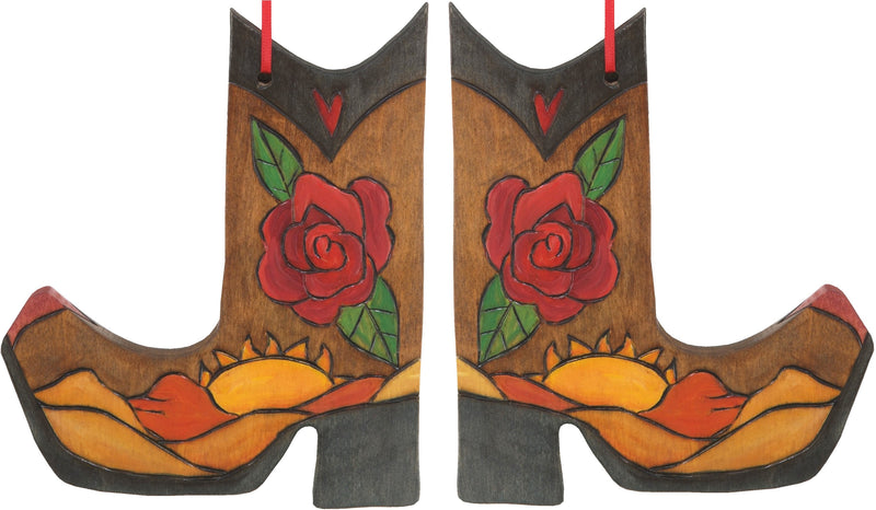 Boot Ornament –  Boot Ornament with rose and sunset on the desert motif