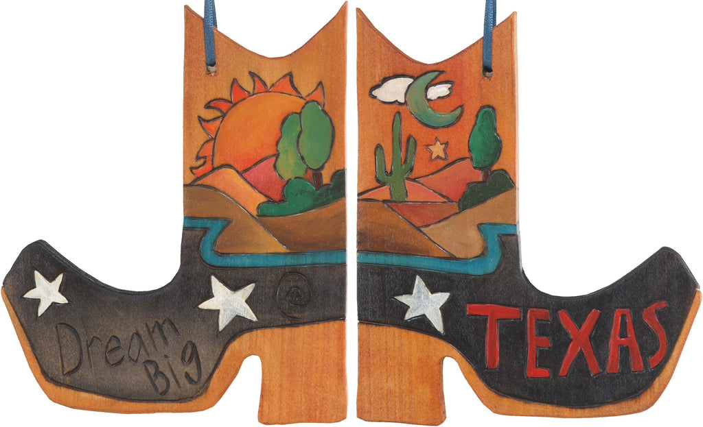 Boot Ornament –  Dream Big/Texas boot ornament with sunset on the desert and cacti motif