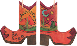 Boot Ornament –  Be Free boot ornament with sunset on the desert and cacti motif