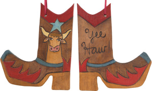 Boot Ornament –  Yee Haw! boot ornament with cow motif