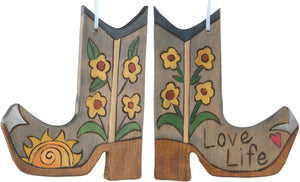 Boot Ornament –  Love Life boot ornament with sun and flower motif