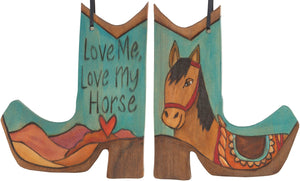 Boot Ornament –  Love Me, Love My Horse boot ornament with blue themed horse motif