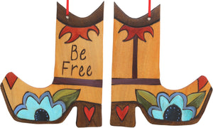 Boot Ornament –  Be Free boot ornament with floral motif