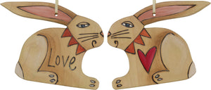 "Rabbit Ornament –  Adorable rabbit ornament with heart, ""Love"""