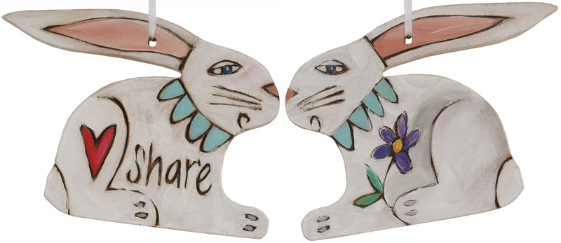 "Rabbit Ornament –  Lovely holiday ornament with rabbit design, ""Share"""