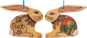 "Rabbit Ornament –  Lovely rabbit ornament with landscape and floral motifs, ""Peace"""