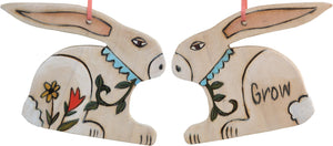 "Rabbit Ornament –  Lovely white rabbit ornament with floral motif, ""Grow"""