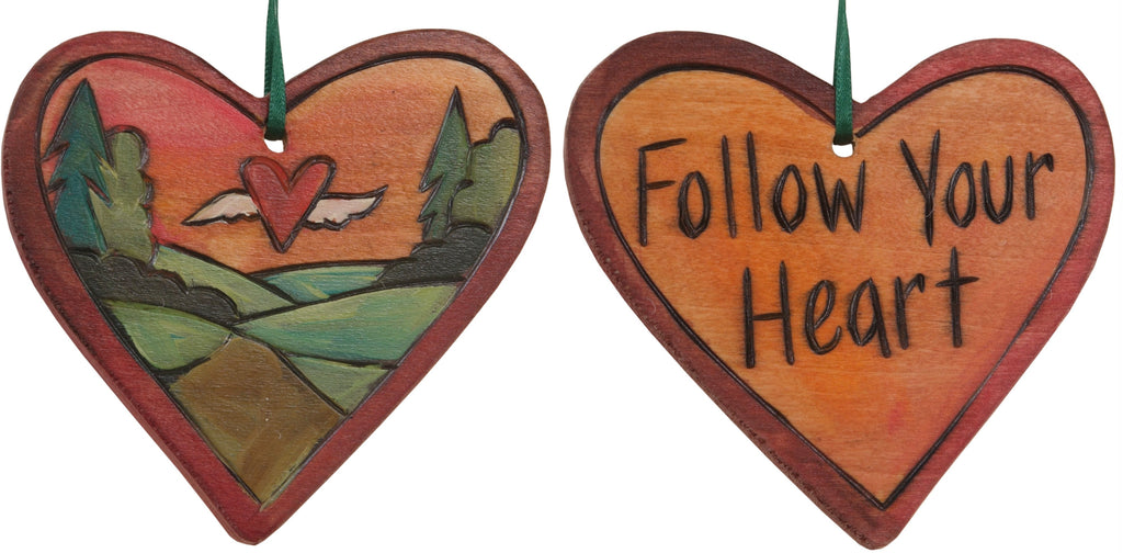 "Heart Ornament –  ""Follow Your Heart"" heart ornament with heart and wings in orange sky motif"