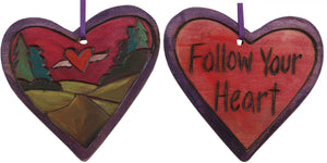 "Heart Ornament –  ""Follow Your Heart"" heart ornament with heart and wings in red sky motif"