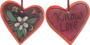 "Heart Ornament –  ""Know Love"" heart ornament with flower motif"