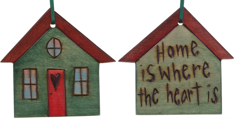 "House Ornament –  ""Home is where the heart is,"" Heart home ornament"