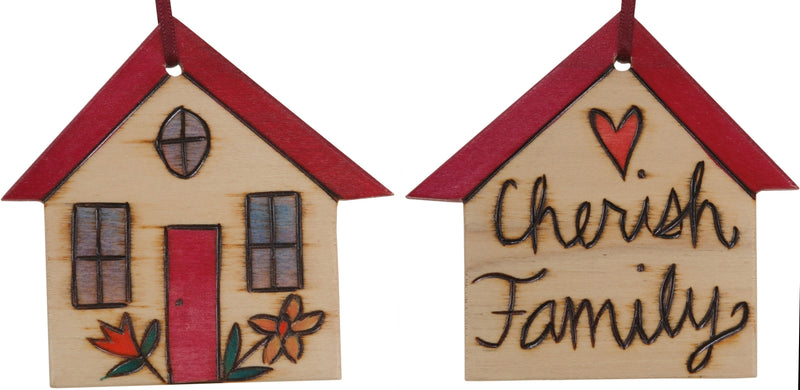 "House Ornament –  ""Cherish Family"" house ornament with tan home and flower motif"