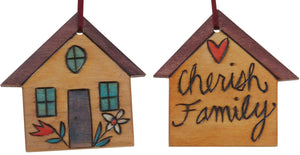 "House Ornament –  ""Cherish Family"" house ornament with yellow home and flower motif"
