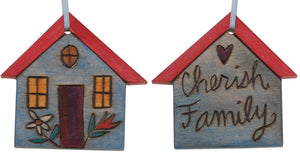 "House Ornament –  ""Cherish Family,"" Heart home ornament with flowers"