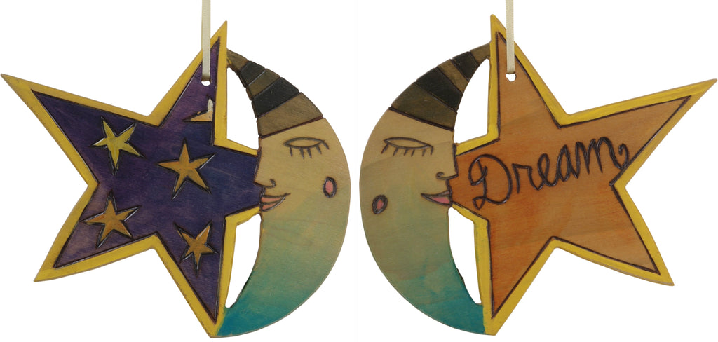 "Moon and Star Ornament –  ""Dream"" moon and star ornament with sleepy mister moon and starry sky motif"