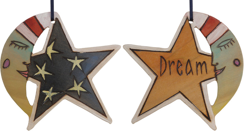 "Moon and Star Ornament –  ""Dream"" moon and star ornament with smiley mister moon and star filled sky motif"