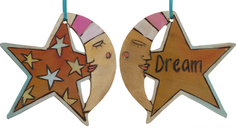"Moon and Star Ornament –  ""Dream"" moon and star ornament with orange starry sky and sleepy mister moon motif"