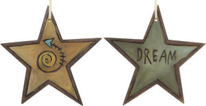 "Star Ornament –  ""Dream"" star ornament with swirly arrow motif"