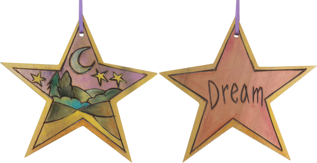 "Star Ornament –  ""Dream"" star ornament with moon and stars over the rolling hills motif"