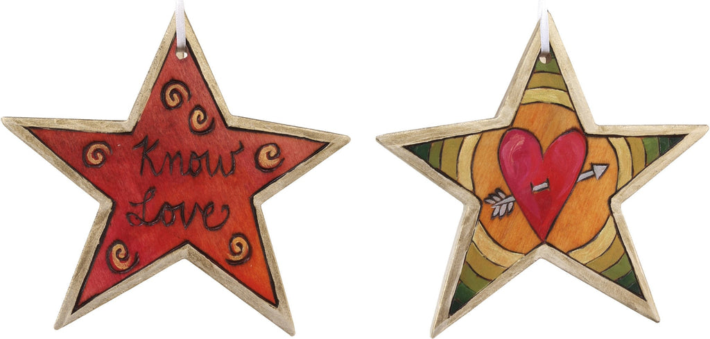 "Star Ornament –  ""Know Love"" star ornament with heart motif"