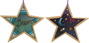 "Star Ornament –  ""Dream"" star ornament with moon and stars motif"