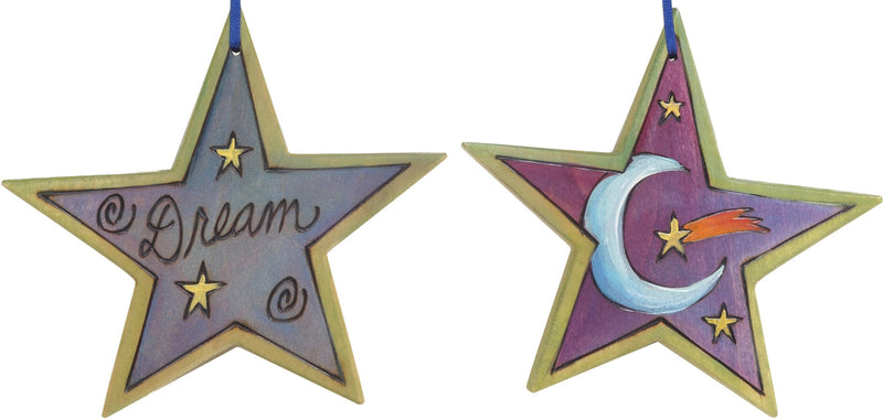 "Star Ornament –  ""Dream"" star ornament with moon and shooting star motif"